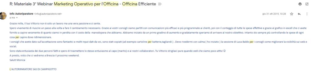 monica verna x recensione Marketing operativo in officina